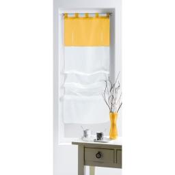 Store droit a passants 45 x 180 cm voile bicolore duo Blanc/Soleil
