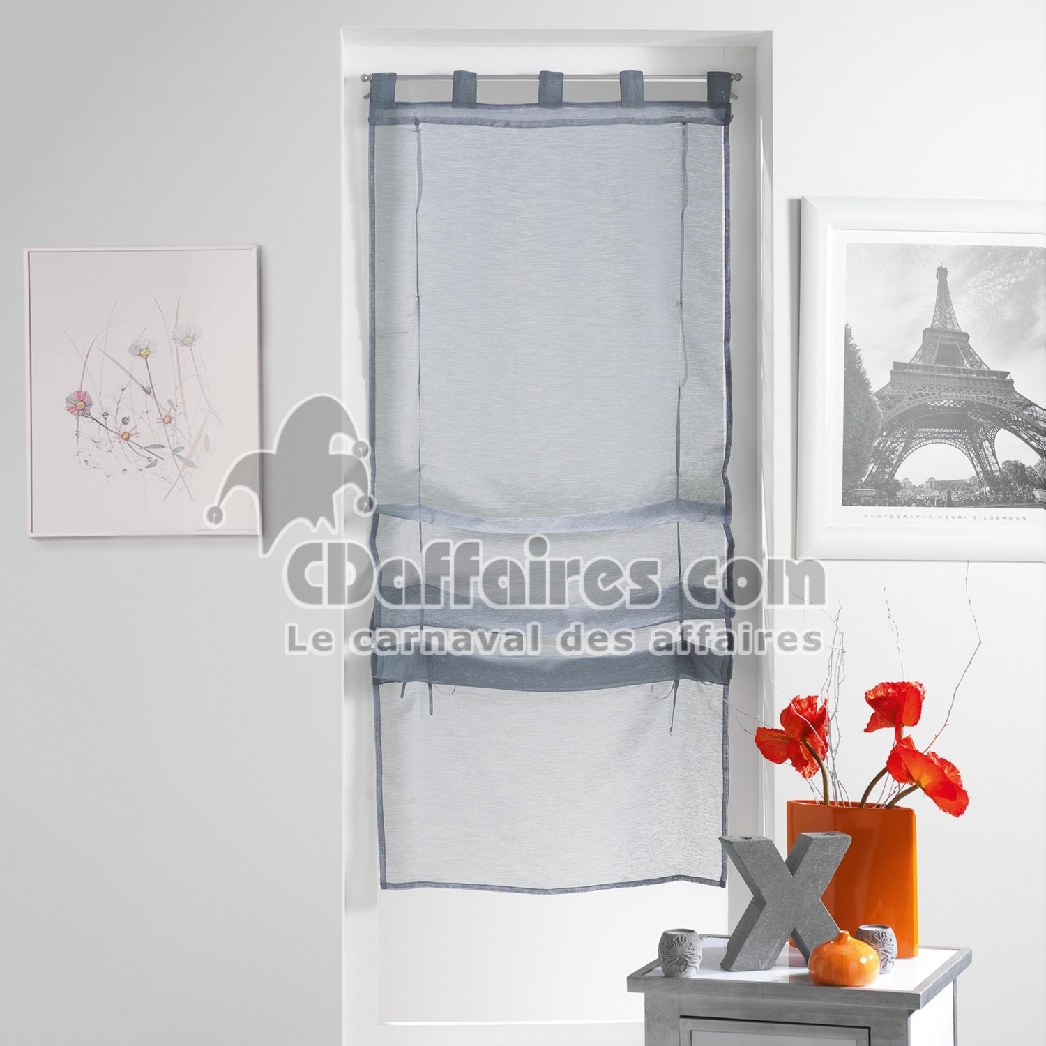 store droit a passants 45 x 180 cm voile sable lissea gris cdaffaires. Black Bedroom Furniture Sets. Home Design Ideas