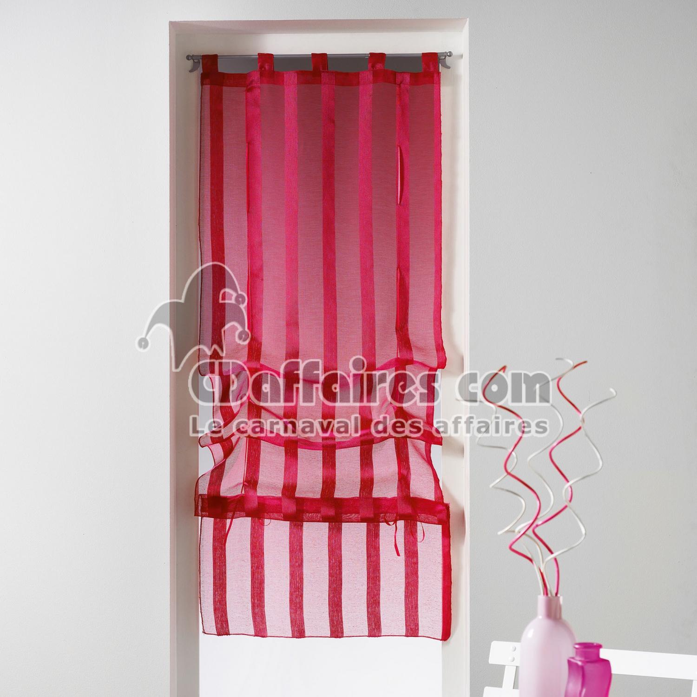 store droit a passants 45 x 180 cm voile sable raye malta fuchsia cdaffaires. Black Bedroom Furniture Sets. Home Design Ideas