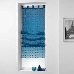 Store droit a passants 60 x 180 cm voile sable pompons pomponi Bleu