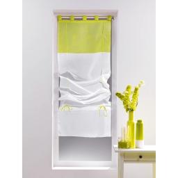 Store droit a passants 90 x 180 cm voile bicolore magik Blanc/Anis