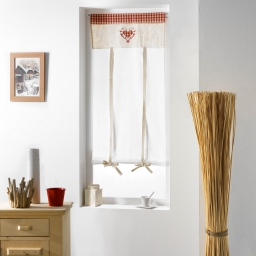 Store droit passe tringle 60 x 150 cm voile brode vichy camille Rouge