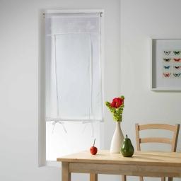 Store droit passe tringle 60 x 160 cm voile+top brode opaline Blanc