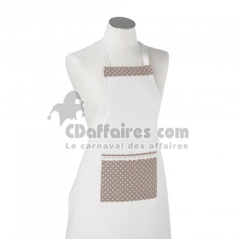 Tablier +poche 60 x 80 cm polyester/coton/lin finesse Choco