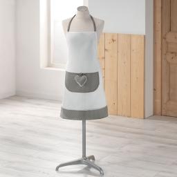 Tablier +poche 60 x 80 cm polyester fanny Gris/Blanc