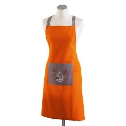 Tablier +poche 60 x 84 cm coton brode guinguette Orange