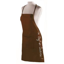 Tablier +poche 60 x 84 cm coton cuistot Choco