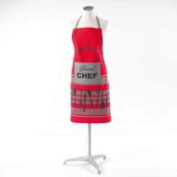 Tablier +poche 60 x 84 cm coton imprime chef etoile Rouge