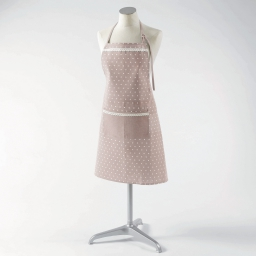 Tablier +poche 70 x 80 cm polycoton imprime alicia Rose/Blanc