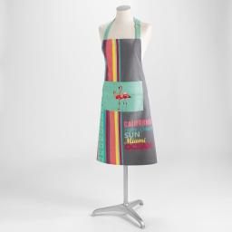 Tablier +poche 70 x 85 cm coton imprime miami Menthe