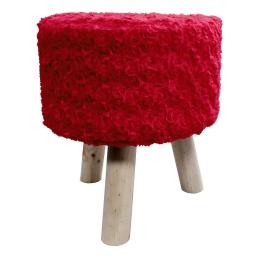 Tabouret (0) 32 cm x ht 36 cm imitation fourrure himalaya Rouge