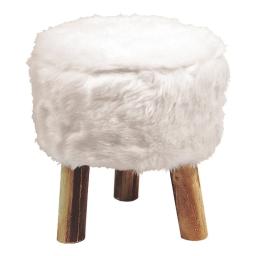 Tabouret (0) 32 cm x ht 36 cm imitation fourrure yeti Blanc
