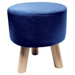 Tabouret (0) 32 cm x ht 36 cm velours uni swart Bleu
