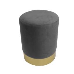 Tabouret (0) 32 cm x ht 38 cm velours et base metal duchesse Anthracite