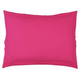 Taie d'oreiller volant plat 50 x 70 cm uni 57 fils lina  + p bourdon Bois de rose