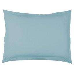 Taie d'oreiller volant plat 50 x 70 cm uni 57 fils lina  + point bourdon Aqua