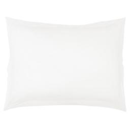 Taie d'oreiller volant plat 50 x 70 cm uni 57 fils lina  + point bourdon Blanche