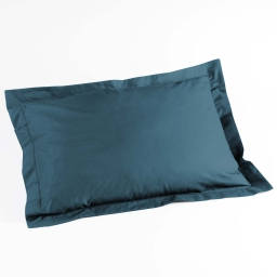 Taie d'oreiller volant plat 50 x 70 cm uni 57 fils lina  +point bourdon Bleu nuit