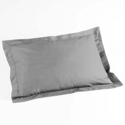 Taie d'oreiller volant plat 50 x 70 cm uni 57 fils lina  +point bourdon Galet