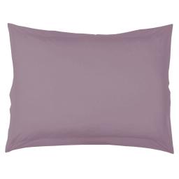 Taie d'oreiller volant plat 50 x 70 cm uni 57 fils lina  + point bourdon Lilas