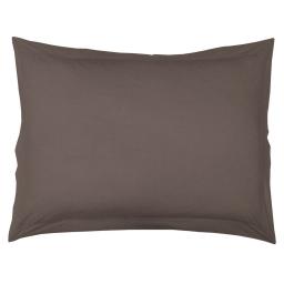 Taie d'oreiller volant plat 50 x 70 cm uni 57 fils lina  + point bourdon Noisette