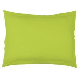 Taie d'oreiller volant plat 50 x 70 cm uni 57 fils lina  + point bourdon Pistache