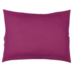Taie d'oreiller volant plat 50 x 70 cm uni 57 fils lina  + point bourdon Violette