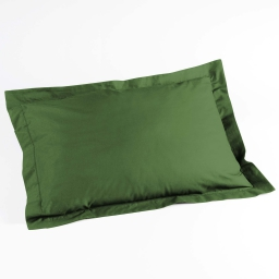 Taie d'oreiller volant plat 50x70 cm uni 57 fils lina  +point bourdon Vert sapin