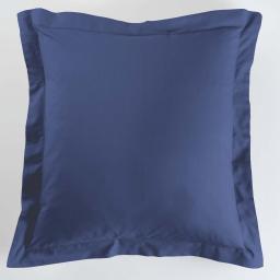 Taie d'oreiller volant plat 63 x 63 cm uni 57 fils lina Bleu