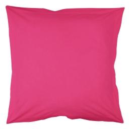 Taie d'oreiller volant plat 63 x 63 cm uni 57 fils lina  + p bourdon Bois de rose