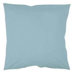 Taie d'oreiller volant plat 63 x 63 cm uni 57 fils lina  + point bourdon Aqua