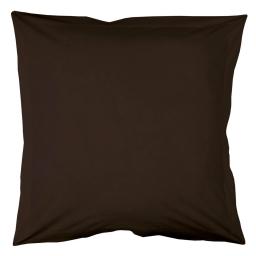 Taie d'oreiller volant plat 63 x 63 cm uni 57 fils lina  + point bourdon Cacao