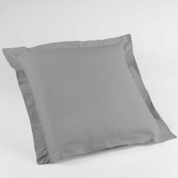 Taie d'oreiller volant plat 63 x 63 cm uni 57 fils lina  +point bourdon Galet