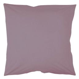 Taie d'oreiller volant plat 63 x 63 cm uni 57 fils lina  + point bourdon Lilas
