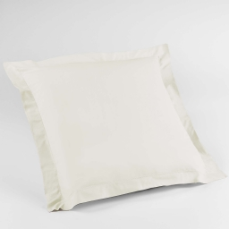Taie d'oreiller volant plat 63 x 63 cm uni 57 fils lina  +point bourdon Naturel