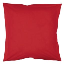 Taie d'oreiller volant plat 63 x 63 cm uni 57 fils lina  + pt bourdon Coquelicot