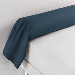 Taie de traversin 85 x 185 cm uni 57 fils lina  +point bourdon Bleu nuit