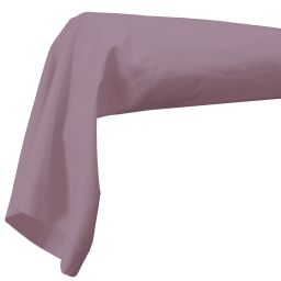 Taie de traversin 85 x 185 cm uni 57 fils lina  + point bourdon Lilas