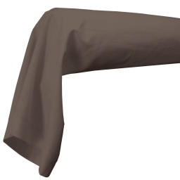 Taie de traversin 85 x 185 cm uni 57 fils lina  + point bourdon Noisette