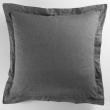 Taie oreiller volant plat 63x63 cm polycoton uni actually  +p. bourdon Anthracite, image n° 1