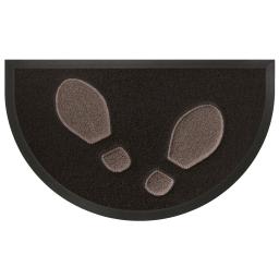 Tapis d'entree demi-lune 45 x 75 cm pvc empreintes Noir/Taupe