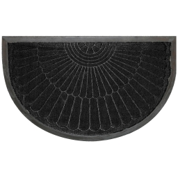 Tapis d'entree demi-lune 45 x 75 cm relief pvc coquille Noir