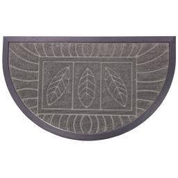 Tapis d'entree demi-lune 45 x 75 cm relief pvc feuilles Gris