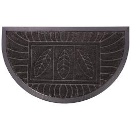Tapis d'entree demi-lune 45 x 75 cm relief pvc feuilles Noir