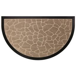 Tapis d'entree demi-lune 45 x 75 cm relief pvc galets Naturel