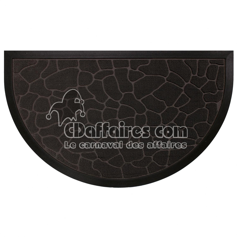 Tapis d 39 entree demi lune 45 x 75 cm relief pvc galets noir cdaffaires - Tapis de marche d escalier demi lune ...