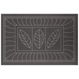 Tapis d'entree rectangle 40 x 60 cm anti-poussiere relief feuilles Gris