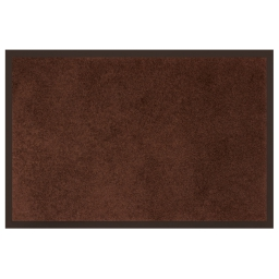 Tapis d'entree rectangle 40 x 60 cm anti-poussiere uni telio Choco