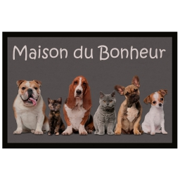Tapis d'entree rectangle 40 x 60 cm photoprint family Gris