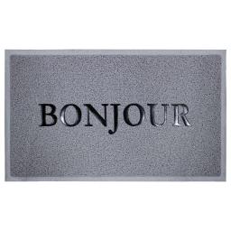 Tapis d'entree rectangle 45 x 75 cm pvc bonjourno Gris/Noir